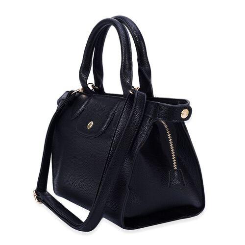 Black Colour Top Handle Bag with Adjustable and Removable Shoulder Strap (Size 33x23x11 Cm)