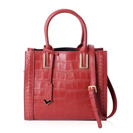 Close Out Deal 100% Genuine Leather Sassy Red  Croco Embossed Tote Bag with Removable Shoulder Strap (Size 28x24.5x12 Cm)