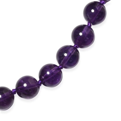 Amethyst (Rnd) Beads Necklace (Size 20) with Magnetic Lock in Rhodium Plated Sterling Silver 170.000 Ct.