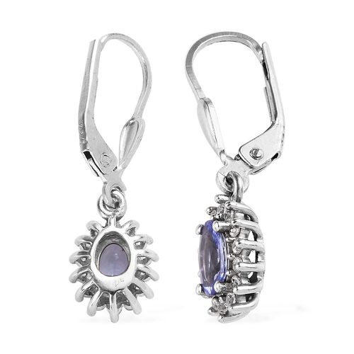 Tanzanite (Ovl), Natural Cambodian Zircon Lever Back Earrings in Platinum Overlay Sterling Silver 1.250 Ct.