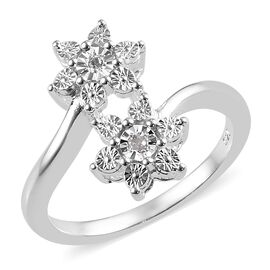 One Time Deal - Diamond (Rnd) Floral Bypass Ring (Size T) in Sterling Silver