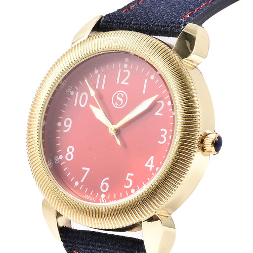 STRADA Japanese Movement Watch with Denim Strap, Red and Gold Tone Dial