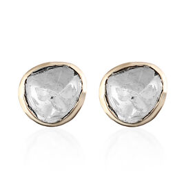 Handmade 9K Yellow Gold Polki Diamond Stud Earrings (with Push Back) 0.50ct.