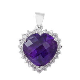 Amethyst (Hrt 12.64 Ct), Natural White Cambodian Zircon Heart Pendant in Rhodium Overlay Sterling Silver 14.400 Ct.