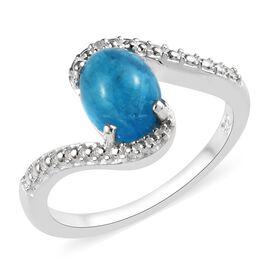 1.34 Ct Malgache Neon Apatite and Diamond Solitaire Ring in Sterling Silver