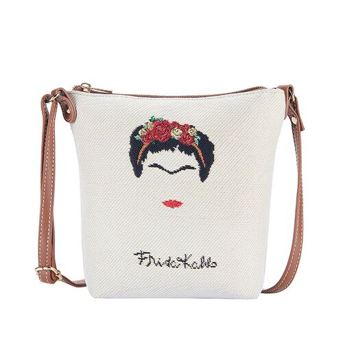 Signare Tapestry Frida Kahlo Panel Design in Beige on Cream Sling Bag (16x22x120cm)