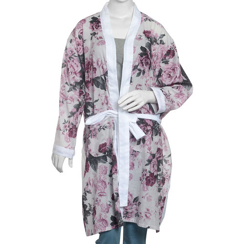 100% Cotton Off White, Pink and Multi Colour Flower and Leaves Pattern Apparel (Size 100x65 Cm)