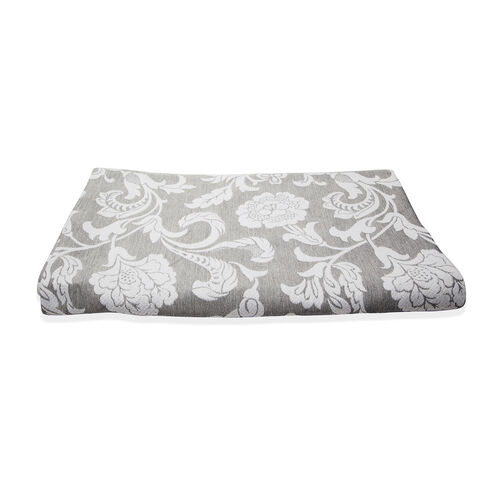 Egyptian Cotton King Size Pique Bedcover with Big Woven Flowers, Made in Portugal (Size 240X260 cm)