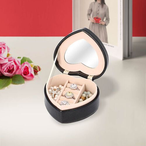 Grace Collection - Lizard Skin Pattern Heart Shaped  Anti-Tarnish Jewellery Box with Inside Mirror,