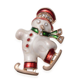Christmas Red and White Austrian Crystal Snowmen Enamelled Brooch in Yellow Gold Tone