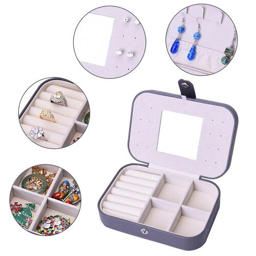 Portable and Lightweight Jewellery Organiser with Button Closure and Inside Mirror in Grey Colour (Size 16.5x11.5x5.5 cm)