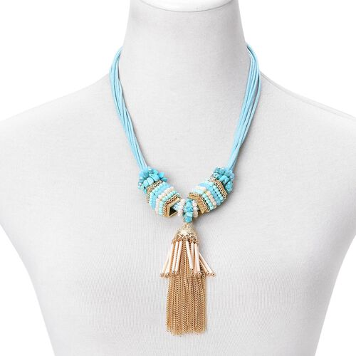 Blue Howlite and Simulated Multi Colour Pearl Tassel Necklace (Size 21 with 2 inch Extender) in Yellow Gold Tone. 140ct