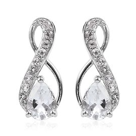 White Topaz (1.83 Ct) Platinum Overlay Sterling Silver Earring  2.000  Ct.