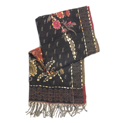 Hand Embroidered Adda Work from India -Floral Pattern Black and Multi Colour Scarf (Size 70X190 Cm)