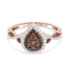 Red Diamond and White Diamond Ring in Rose Gold Sterling Silver 0.50 Ct.