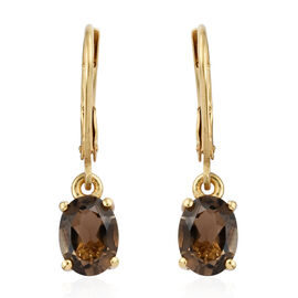 Brazilian Smoky Quartz (Ovl) Lever Back Earrings in 14K Gold Overlay Sterling Silver 2.25 Ct.