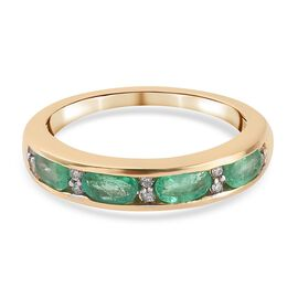 Super Find - 9K Yellow Gold Boyaca Colombian Emerald and Diamond Eternity Band Ring 1.00 Ct.