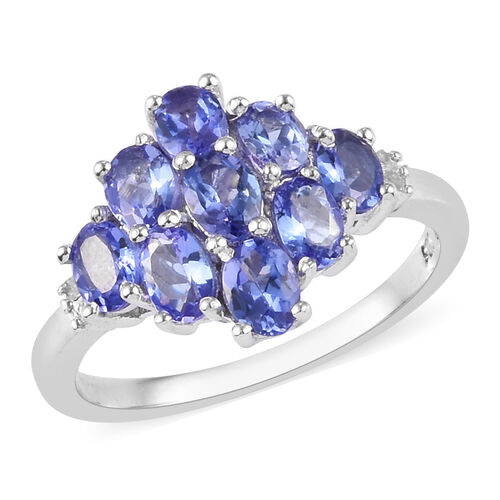 AAA Tanzanite and Diamond Cluster Ring in Platinum Overlay Sterling Silver 1.60 Ct.