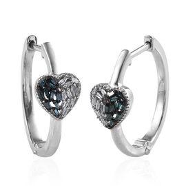 Diamond (Bgt) Heart Hoop Earrings in Platinum Overlay Sterling Silver 0.200 Ct, Silver wt 5.50 Gms.
