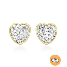 Children Crystal Heart Stud Earrings in 9K Gold