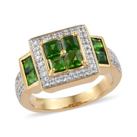 Designer Inspired- Russian Diopside (Princess) and Natral Cambodian Zircon Ring in Vermil Yellow Gold Overlay Sterling Silver 2.390 Ct.