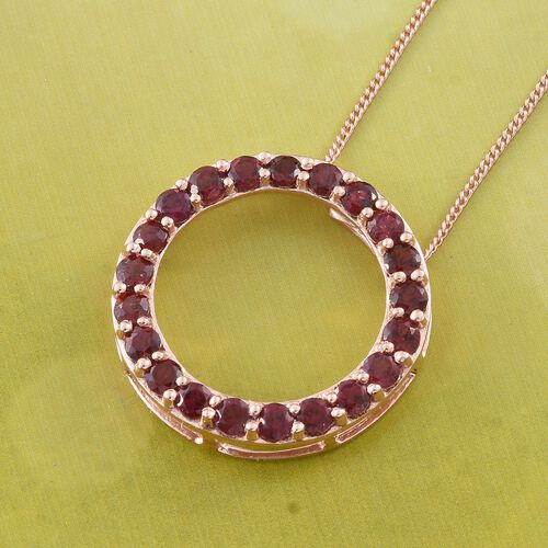 Arizona Anthill Garnet (Rnd) Circle of Life Pendant With Chain in Rose Gold Overlay Sterling Silver 1.750 Ct.
