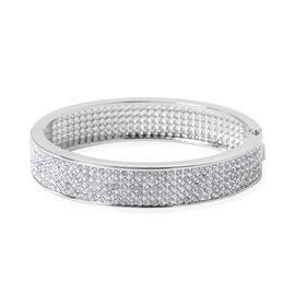Designer Inspired- Austrian White Crystal Bangle (Size 7.5 ) in Silver Plated