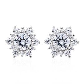 J Francis Made with Swarovski Zirconia Halo Stud Earrings in Platinum Plated Sterling Silver