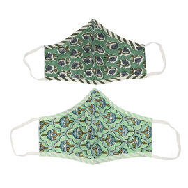 Set of 2 - 100% Cotton Hand Block Printed Reusable Double Layer Face Cover (One Size Fits All) - Dar