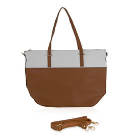 Designer Inspired- Tan and White Colour Handbag with Removable Strap (Size 28x31x15 cm)