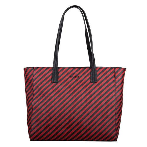 Bulaggi Collection - Sissy Stripe Pattern Shopping Bag (Size 33x30x10cm) - Red