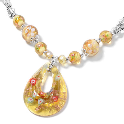 Murano Style Glass, Simulated Champagne Diamond, Yellow Quartzite and Simulated Mystic Glass Necklace (Size 28 and 2.5 inch Extender)