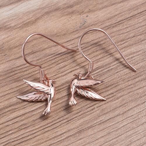 Rose Gold Overlay Sterling Silver Flying Bird Fish Hook Earrings