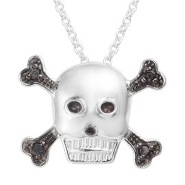 Black Diamond (Rnd) Skull Pendant with Chain (Size 18) in Platinum Overlay and Black Plating Sterlin