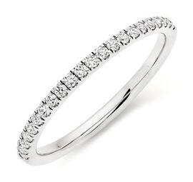 ILIANA 18K White Gold IGI Certified Diamond (Rnd) (SI/G-H) Band Ring 0.330 Ct.
