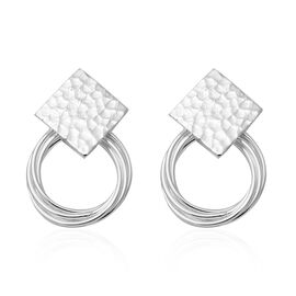 Square Twisted Circle Earrings in Sterling Silver 6.76 Grams