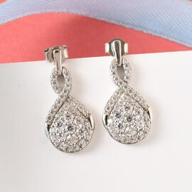 J Francis Platinum Overlay Sterling Silver Earrings (with Push Back) Made with SWAROVSKI ZIRCONIA 4.07 Ct.