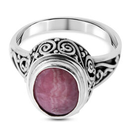 Royal Bali Collection - Rhodochrosite Ring in Sterling Silver 5.73 ct.