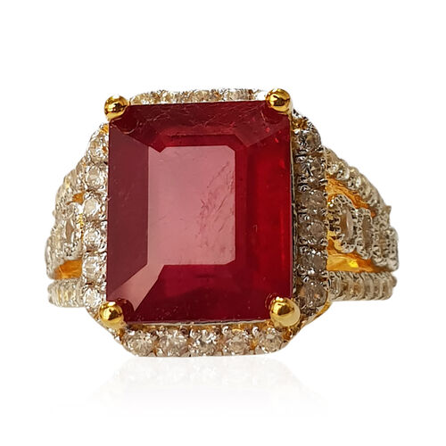 African Ruby (Oct 9.12 Ct), Natural White Cambodian Zircon Cluster Ring in Rhodium and Yellow Gold Overlay Sterling Silver 10.910 Ct, Silver wt 5.50 Gms.