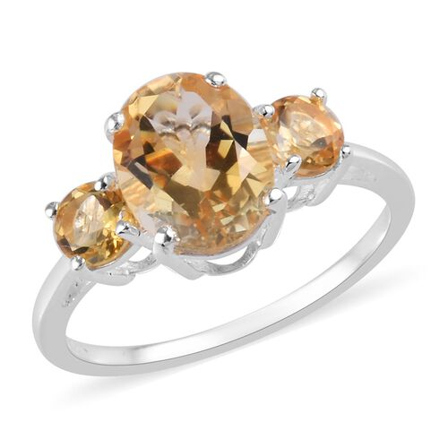 1.90 Ct Citrine Trilogy Ring in Sterling Silver