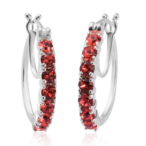 J Francis Crystal From Swarovski Padparasha Crystal Hoop Earrings (with Clasp) in Sterling Silver
