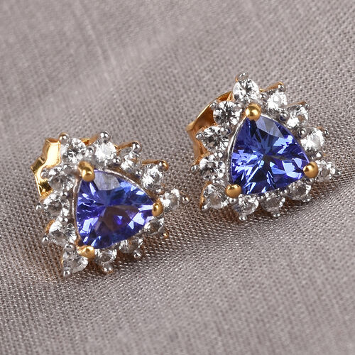 AA Tanzanite and Natural Cambodian Zircon Stud Earrings (with Push Back) in 14K Gold Overlay Sterling Silver 1.25 Ct.