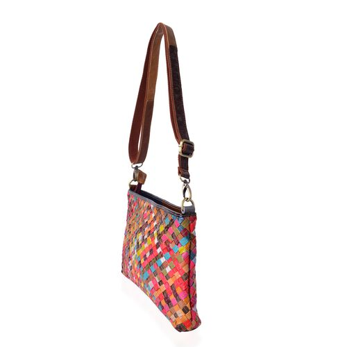 (Option 2) Designer Inspired- 100% Genuine Leather Multi Colour Hand Weaving Crossbody Bag with Adjustable and Removable Shoulder Strap (Size 30x19.5x4.5 Cm)