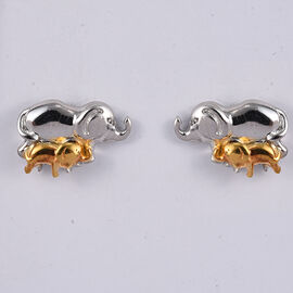 Platinum and Yellow Gold Overlay Sterling Silver Mother and Baby Elephant Earrings (with Push Back)