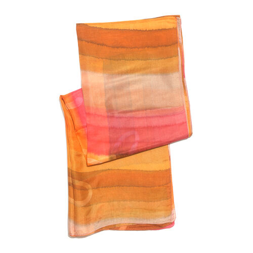 100% Mulberry Silk Orange, Brown and Multi Colour Handscreen Printed Scarf (Size 180x100 Cm)