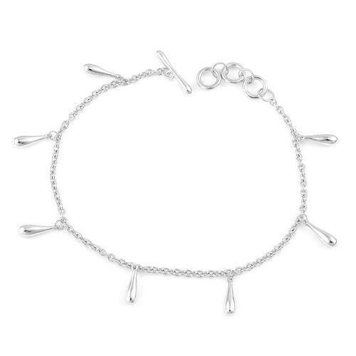 LucyQ Multi Drip Bracelet (Size 8) in Rhodium Plated Sterling Silver 7.30 Gms.