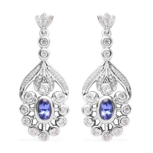 PremiumTanzanite and Natural Cambodian Zircon Dangle Earrings (with Push Back) in Platinum Overlay S