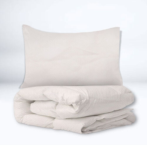 Limited Available- 3 Piece Set - Interlaced Stripes Pattern Jacquard Quilt (Size 240x260 Cm) and Two Pillow Covers (Size 50x70 Cm) - Off White
