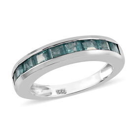 Grandidierite (Sqr) Half Eternity Band Ring in Platinum Overlay Sterling Silver 1.50 Ct.