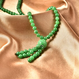 Green Jade Bead Necklace (Size 18) with Magnetic Clasp in Rhodium Overlay Sterling Silver 197.39 Ct.